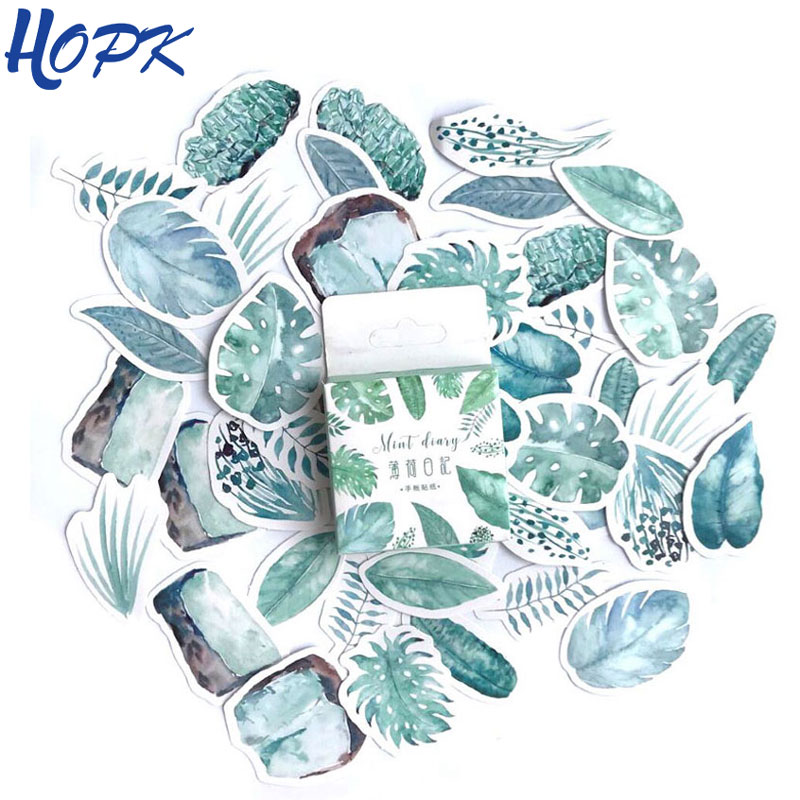 45 Pcs/Set Green Leaves Stickers Planner Decoration Diary Stick Kawaii Stationery Diy Scrapbooking Label Bullet Journal Sticker special romantic small sticker diy with q lia stickers stick stick 70 page 5