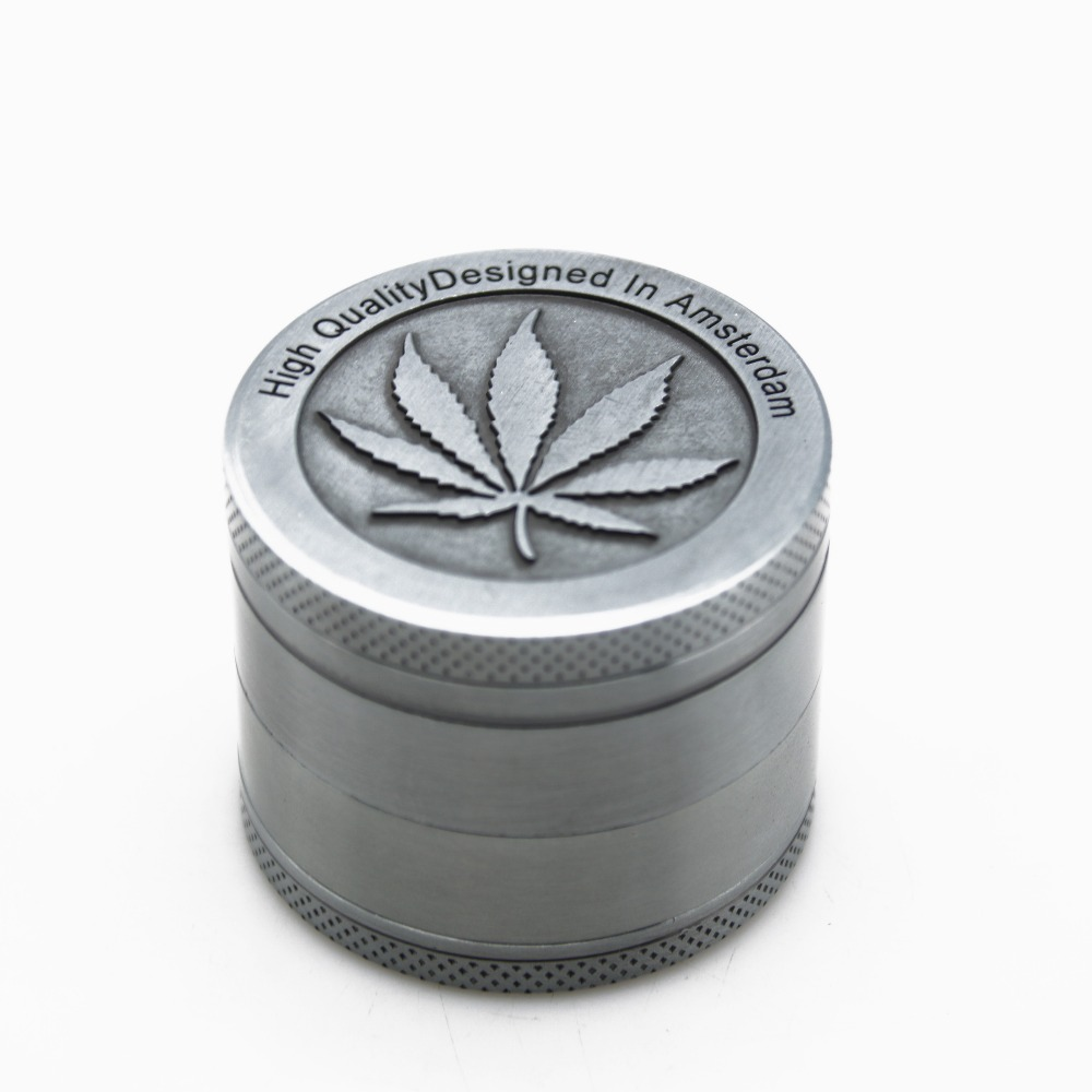 1PC New 50mm 4 Parts Metal Stainless Steel Coin Shape Pattern Herb Crusher Smoking Herbal Spice Pollen Muller Tobacco Grinder