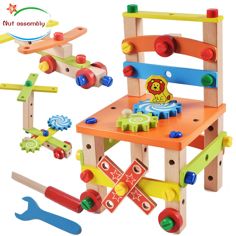 2 Types Avaliable New Arrival DIY Wooden Disassembly Chair Tool Assembly Of Nuts Chair Children's Puzzle Toys Wooden Block Toys