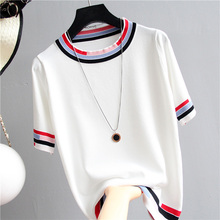 Casual Tees Women Knitting Tops patchwork short sleeve Ladies Shirts Summer sweaters Female Pullovers Pink White Loose