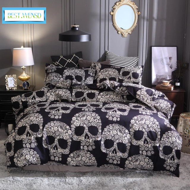 wensd nightmare before christmas 3d skull bed set halloween decorations for bedroom king full