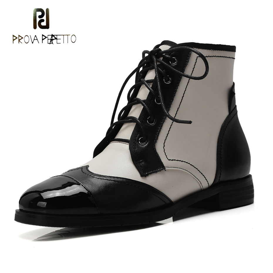 Prova Perfetto genuine leather mixed color martin boots women 2018 new round toe low heel lace up british retro style short boot ipl safety glasses ipl 3 190 2000nm ce for laser beauty machines
