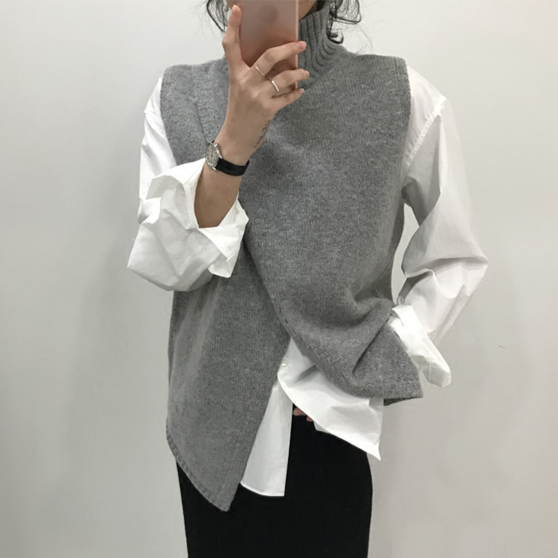 Korean Fashion Overlap Sleeveless Sweater Vest Sweaters Fashion 2018 Women Turtleneck Sweater Jumper Knitted Pullover Sweater