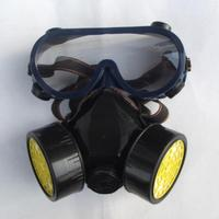 Gas mask, spray paint, dust, chemical gas masks double tank with glasses