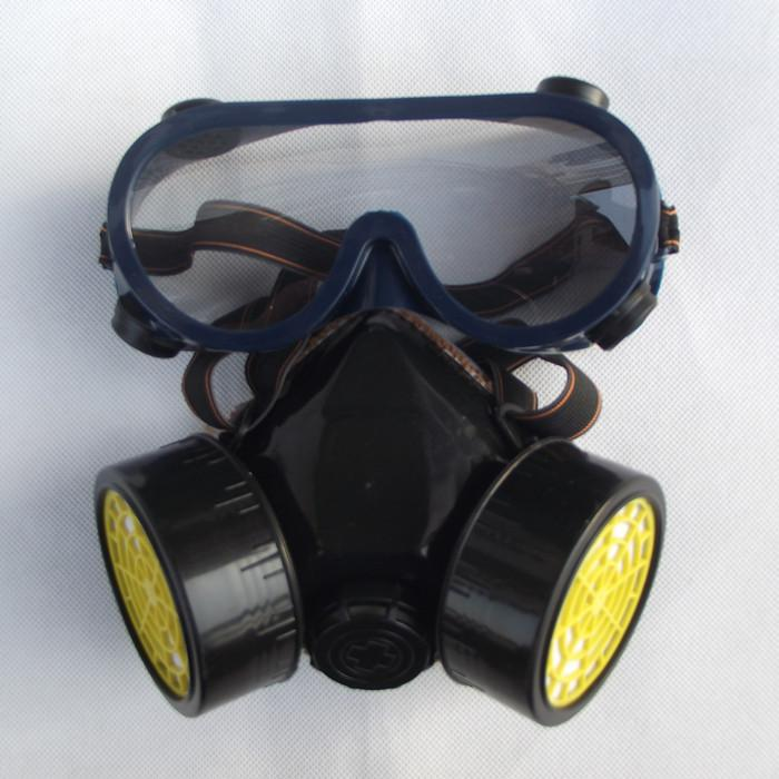Gas mask, spray paint, dust, chemical gas masks double tank with glasses free shiping xhzlc60 fire escape smoking chemical protection mask
