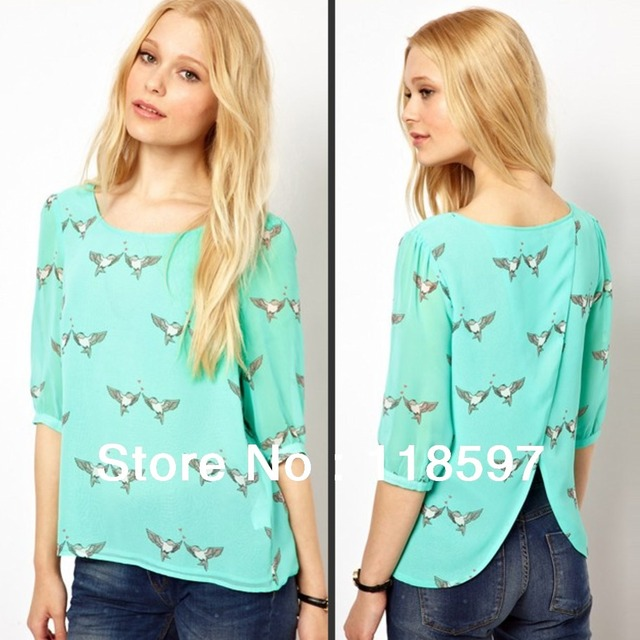 2013 new style birds printed half sleeve light color leisure sweet shirt back Split ends chiffon shirt, big sale