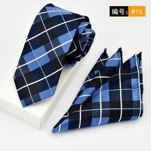 2017 Men Jacquard Floral 6cm Cotton Woven Neck Tie Paisley Groom Wedding Party Necktie Pocket Square Handkerchief Hanky Set Suit