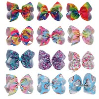 11 Pcs/lot 7 Rainbow Printed Hair Bows With Hair Clip For Girls Kids Handmade Large Mermaid Knot Bow Hair Accessories