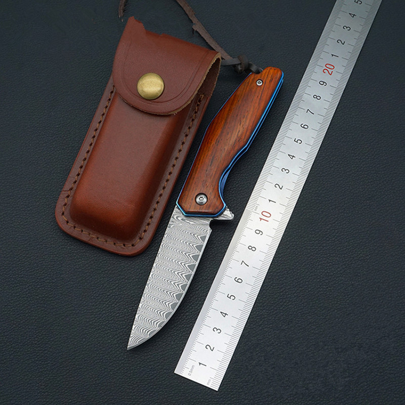 Folding Knife Damascus Blade Rosewood Steel Handle Outdoor Pocket Camping Knives Hunting Survival Knife EDC Tools kizer folding knife karambit pocket knives v4458a1 folding blade stainless steel knife outdoor tool
