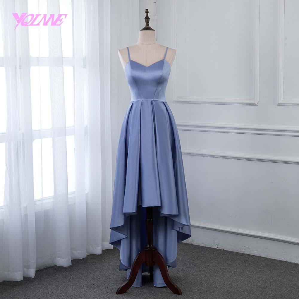 YQLNNE 2019 High Low   Prom     Dresses   Formal Women Evening Gown Steel Blue Satin Asymmetrical   Dress
