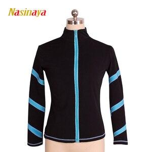 Image 3 - Dostosowane łyżwiarstwo figurowe kurtka zapinana na zamek topy dla dziewczyny kobiety konkurs treningowy Patinaje łyżwiarstwo ciepłe polary gimnastyka 3
