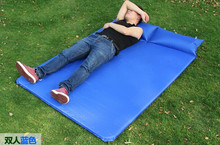 Portable Double Person tent Automatic inflatable cushion Thicken folding PVC moisture pad camping Siamese pillow inflatable mat