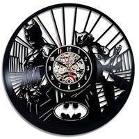 2019 klok 배트맨 벽시계 빈티지 현대 디자인 장식 소년 침실 비닐 레코드 시계 시계 홈 장식 침묵 12 인치
