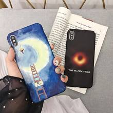 Hard PC Cover Case For iPhone 8 X XS XR Xs Max Luminous 7 Plus 5 6S Moon Pattern Phone