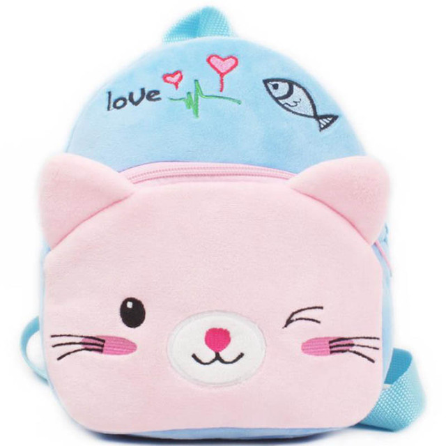 New Arrive  23*20cm Cartoon  Cat Fashion Plush Schoolbag Children Kindergarten  Backpack Girl Toy Gift FREE SHIPPING