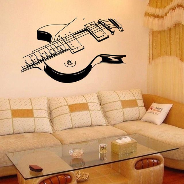Guitar Wall Sticker Removable Wall Decor Mural Vinyl Music Wall Decals  Living Room Decoration Art Decal