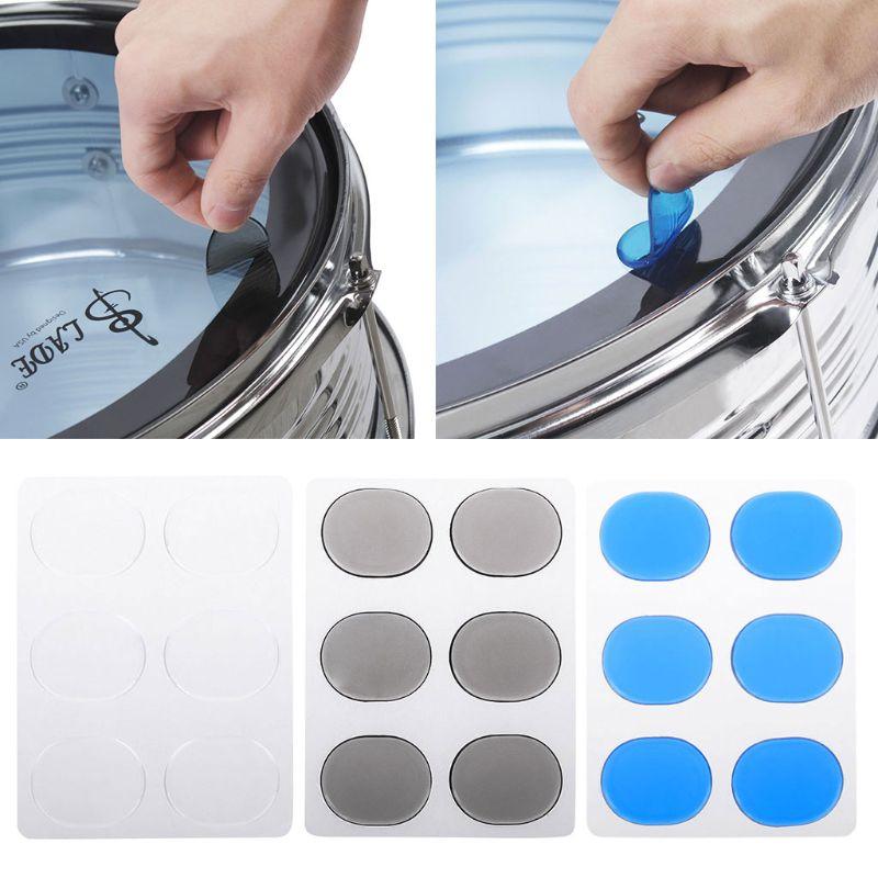 6pcs silicon drum mute pad drum damper gel pads snare tom drum muffler mute transparent. Black Bedroom Furniture Sets. Home Design Ideas