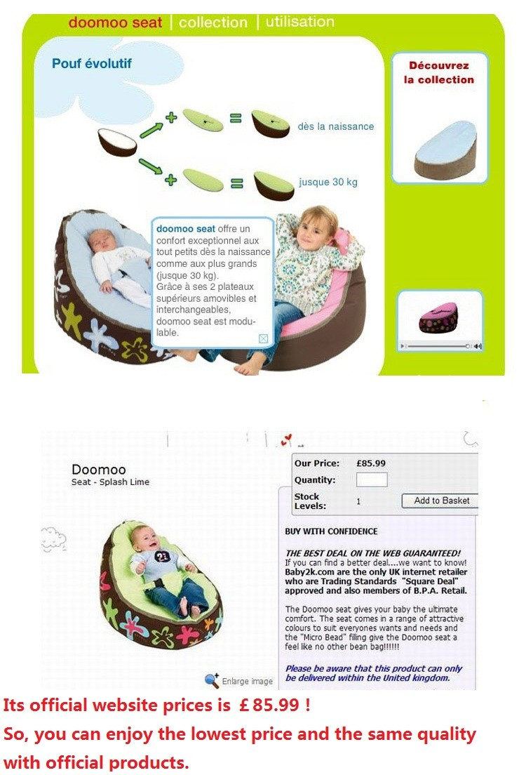 Doomoo Zitzak Lime.Just A Cover Baby Feeding Chair Portable Baby Pouf With Belt