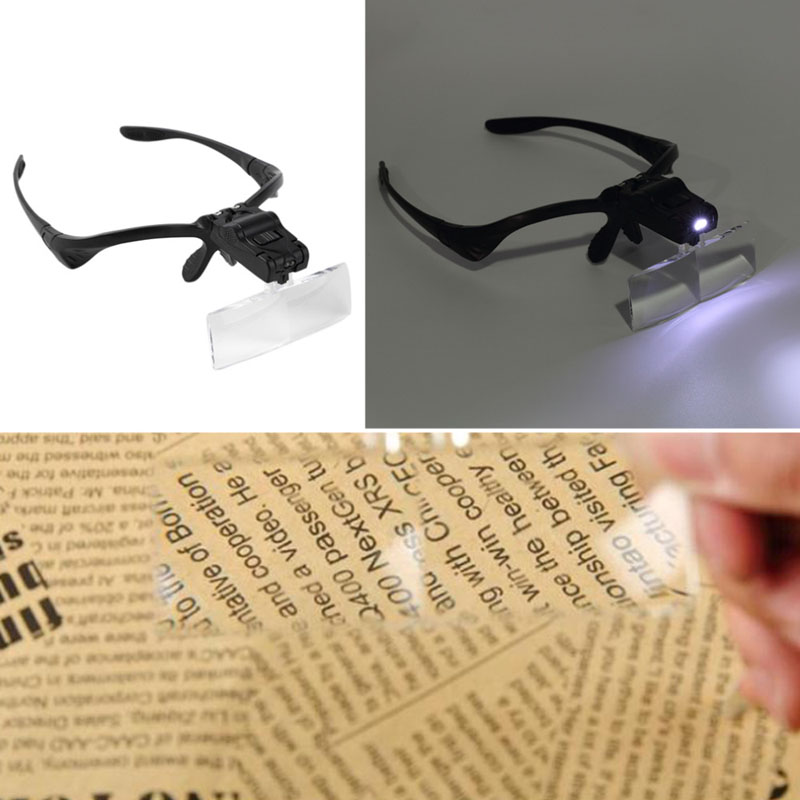 LED Magnifying Glass Repair Magnifier Light Tools 1.0/1.5/2.0/2.5/3.5X Magnification Glasses Optical Lenses ALI88 5lens led light lamp loop head headband magnifier magnifying glass loupe 1 3 5x y103