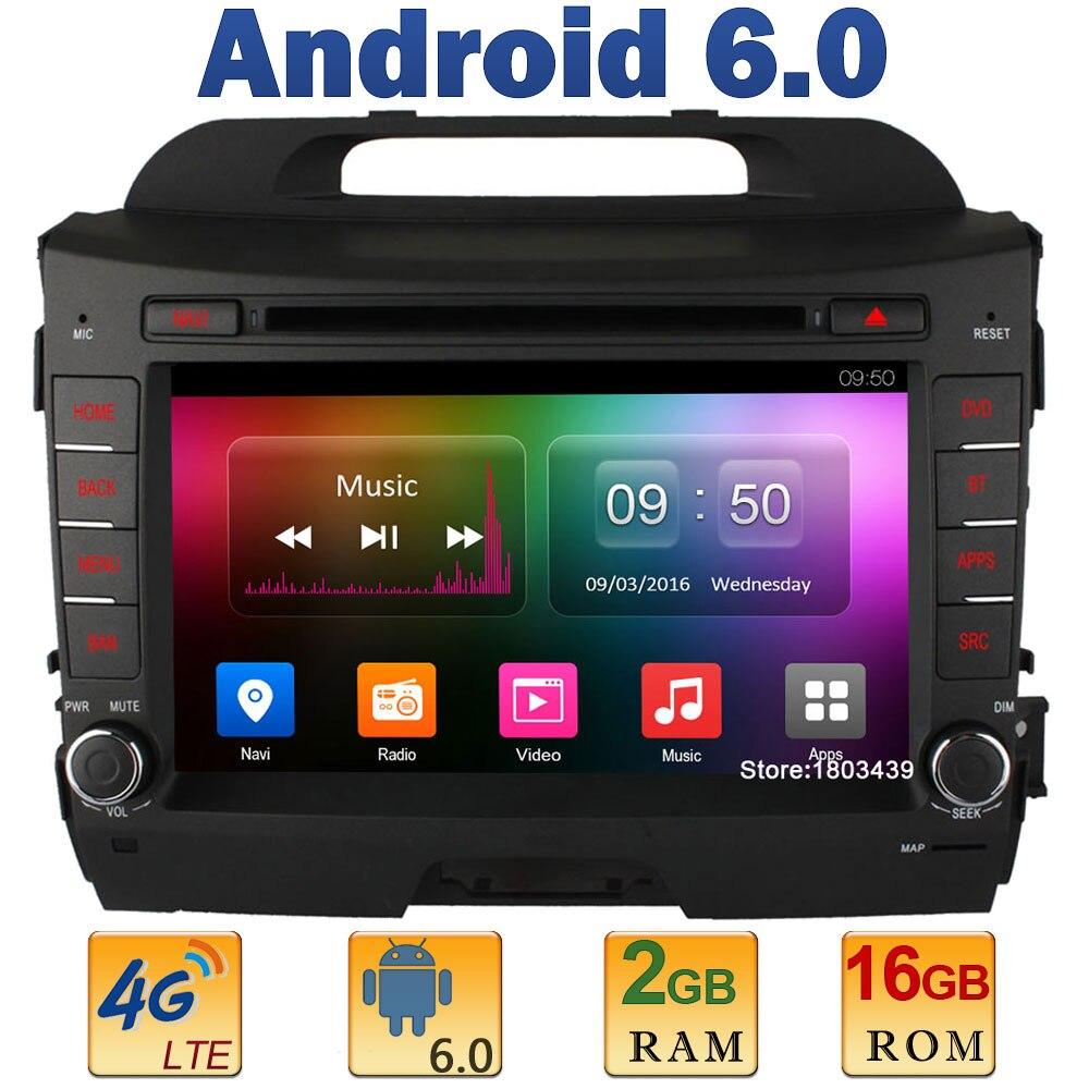 8″ 1024*600 Quad Core 2GB RAM 4G LTE SIM WIFI Android 6.0 Car DVD Video Player Radio Stereo For KIA Sportage R 2010-2015 DAB+ BT