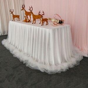 Фатиновая юбка-пачка из органзы, шифоновая детская юбка для дня рождения, ресторана, стола, юбка из материала на льду для свадебной вечеринк...
