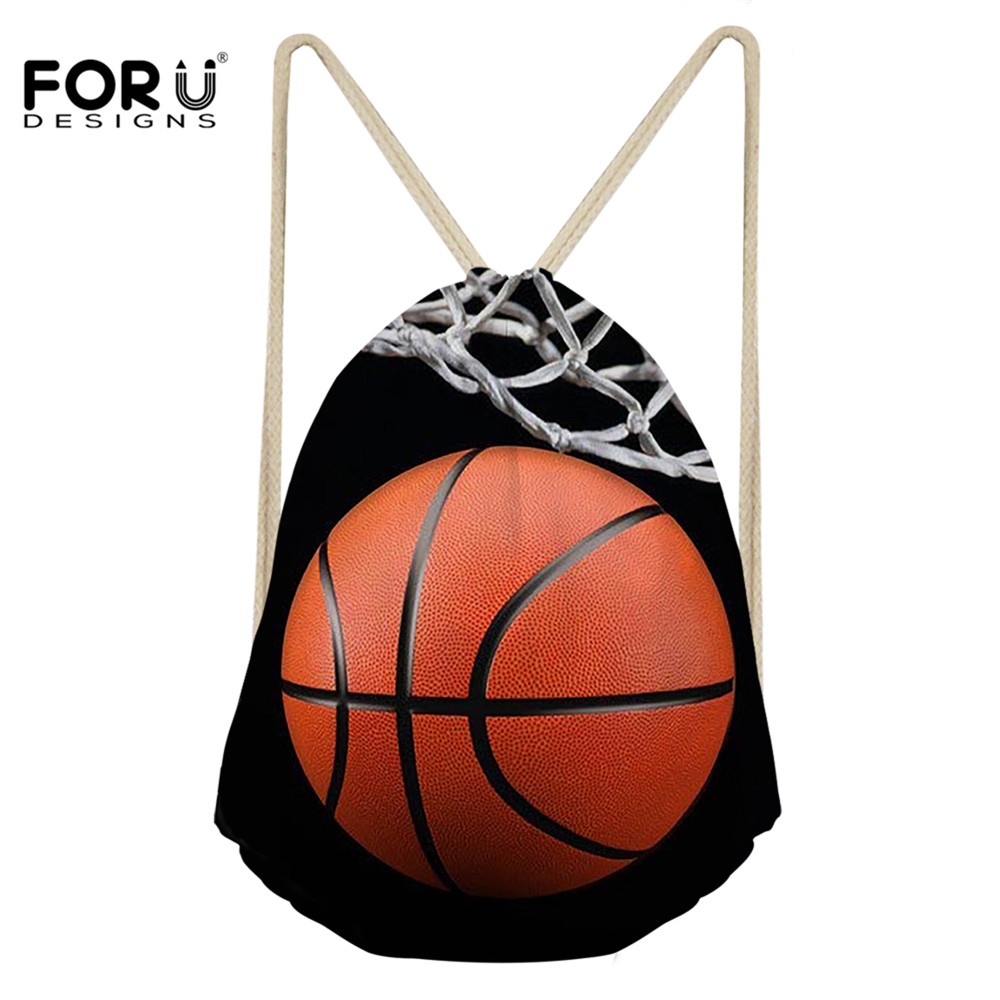 FORUDESIGNS 3D Basketball Print Women Drawstring Bag Casual String Backpack For Boys Girls Travel Softback Backpacks Sack Cinch