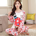 Conjuntos de Pijama dos desenhos animados para Mulheres Primavera Manga Comprida Em Torno Do Pescoço Meninas Sleepwear Nightwear Senhoras Pijamas PJS Bonito B4