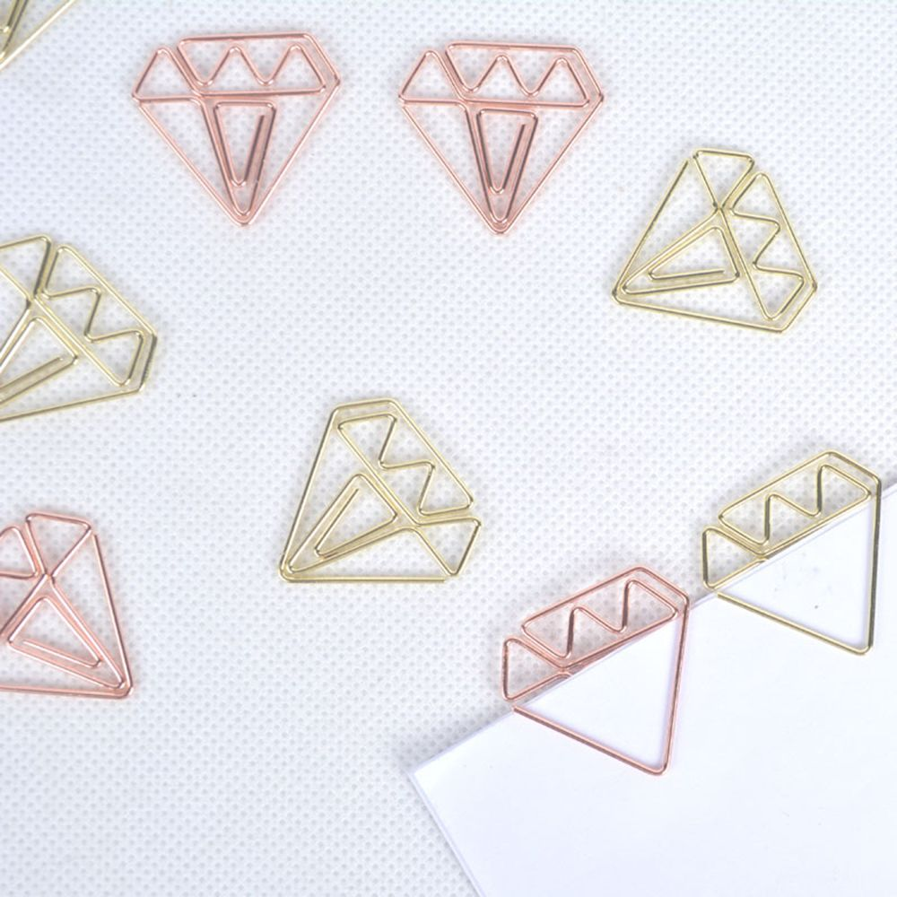 8pcs/pack Rose Gold Diamond Cute Paper Clip Bookmark Creative Student Stationary Paper Clip Storage School Office Supply