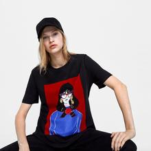 Cartoon Character Printed Cotton women T-shirt Short Sleeve Patchwork Tops 2019 new minimalist High Quality punk black chothing