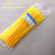 100pcs/lot 3x200mm colorful Nylon cable ties 2.5mm Self-locking type Yellow