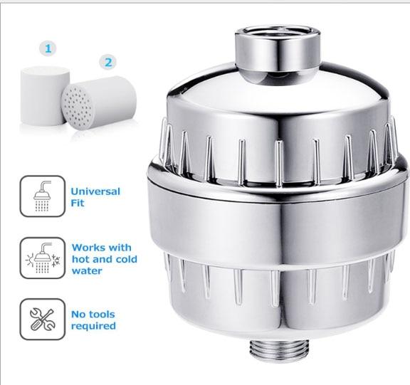 15 levels bath water purifier shower head filter Bath accessories prefiltering Single water water disinfection