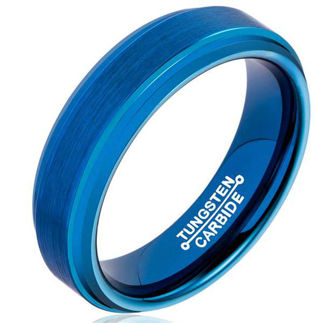 Tungsten Rings Blue Plated Beveled