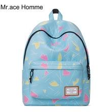 Mr. ace homme свежий печати Школьный рюкзак для девочек 2017 модные женские туфли ноутбук рюкзак дамы полиэстер дорожная сумка Лидер продаж