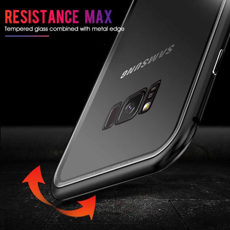 Металлический магнитный чехол для samsung Galaxy S8, S9, S10 Plus, S10E, S7 Edge, Note 8, 9, закаленное стекло, задняя крышка на магните