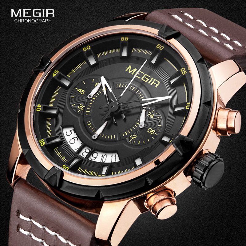 MEGIR Sport Men Quartz Watch Multifunction Chronograph Fashion Wrist Watches Clock Men Relogio Masculino with Leather Strap 2047 multifunction touch screen panel remote control tv dvd watch blue rectangle pu leather men watch relogio masculino