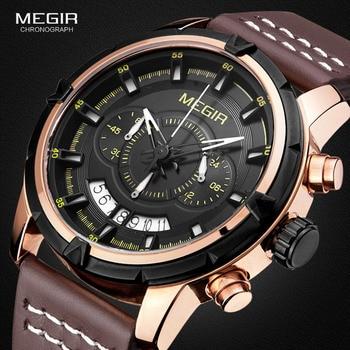 MEGIR Sport Men Quartz Watch Multifunction Chronograph Fashion Wrist Watches Clock Men Relogio Masculino with Leather Strap 2047