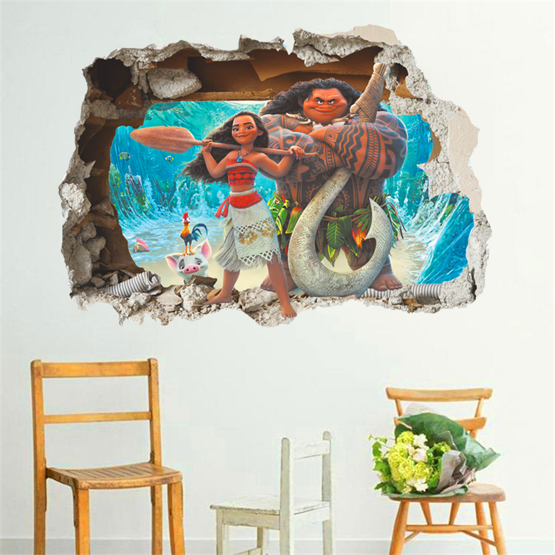cartoon movie Moana Maui Vaiana wall sticker for kids rooms 3d effect wall decals children pvc art decals children's room decor