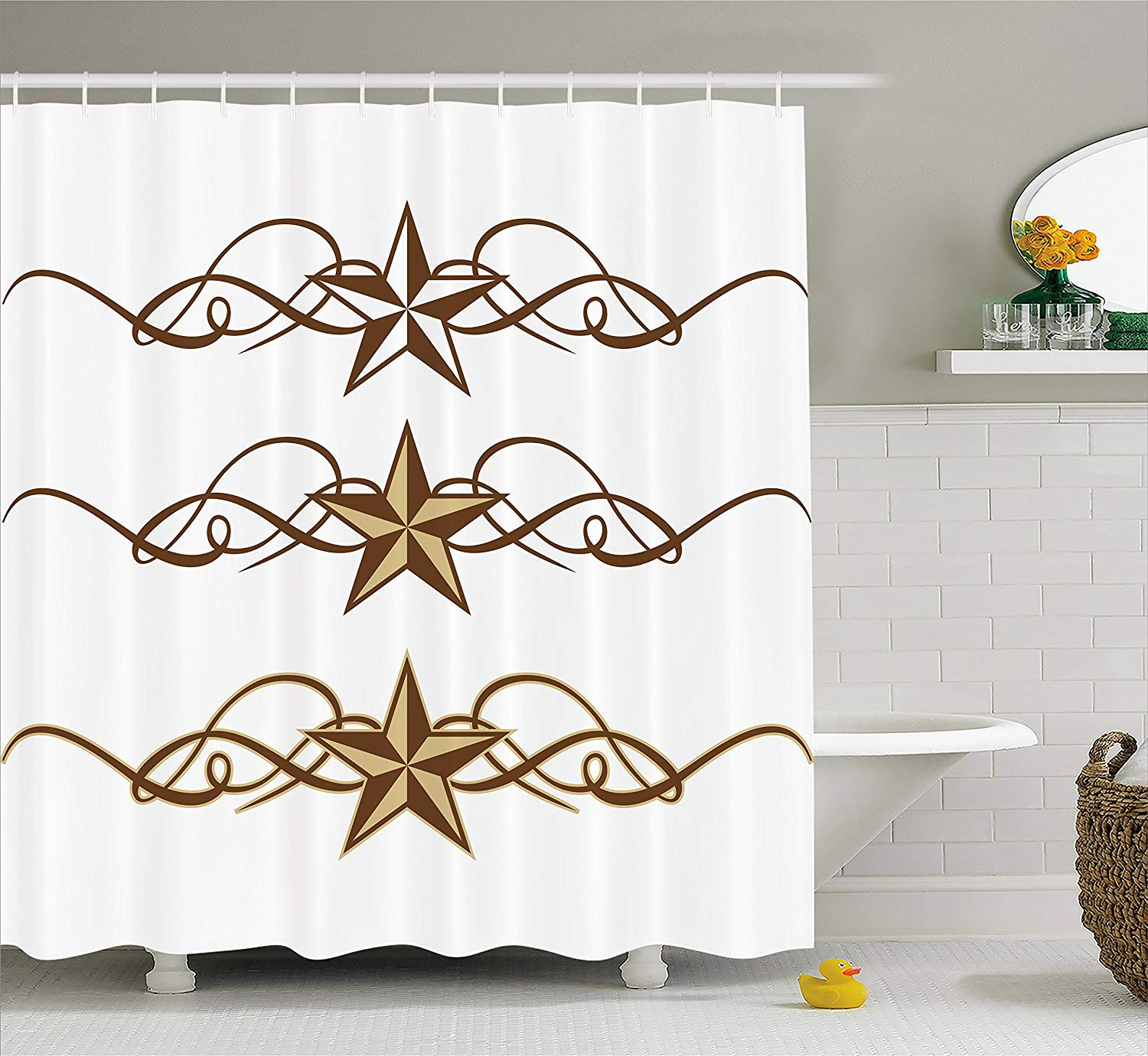 Primitive Country Decor Shower Curtain Western Stars Scroll Design Ornate Swirls Antique Artistic image