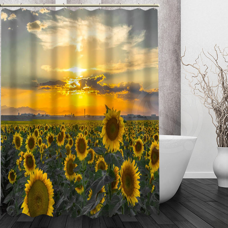 Flower series style New arrival sunflower Bath Curtain Custom Mondern  Polyester Fabric Shower Curtain Print( - Compare Prices On Sunflower Shower Curtain- Online Shopping/Buy