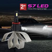 2pcs Universal S7 H8 H9 H11 60W 6000K Car LED Headlight Bulb 6400LM Auto Hi Lo Beam Auto Vehicle Headlamp DC12V 24V