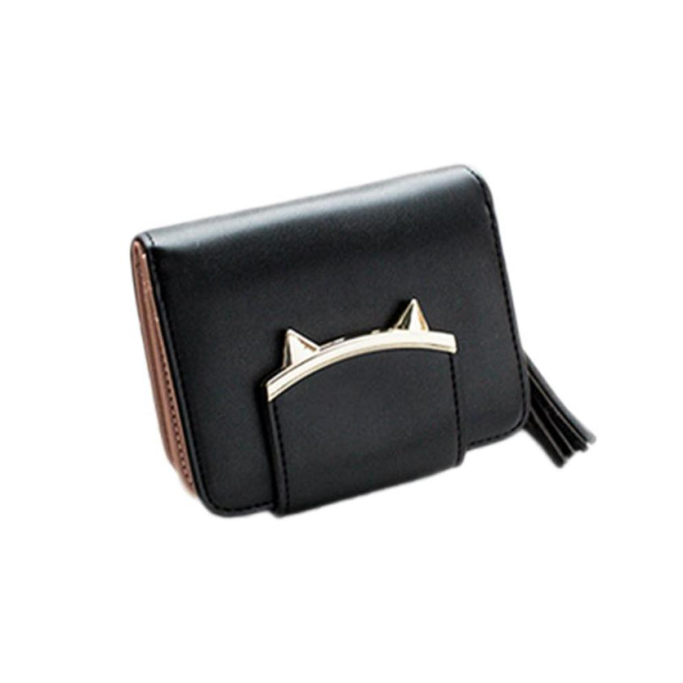 New Arrival Women Girls Leather Wallet Lady Card Holder Handbag Bag Small Zipper Hasp Short Wallet Pure Colour Purses monedero S