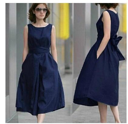 Women Summer Dress 2017 New Simple Vest Plus Size Long Vintage Casual Cotton