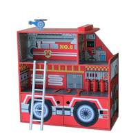 Doll House Large Boys Big Wooden Car House Pretend Toy Kids Fire Truck Real Life Wooden Dollhouse with Furniture Birthday Gift