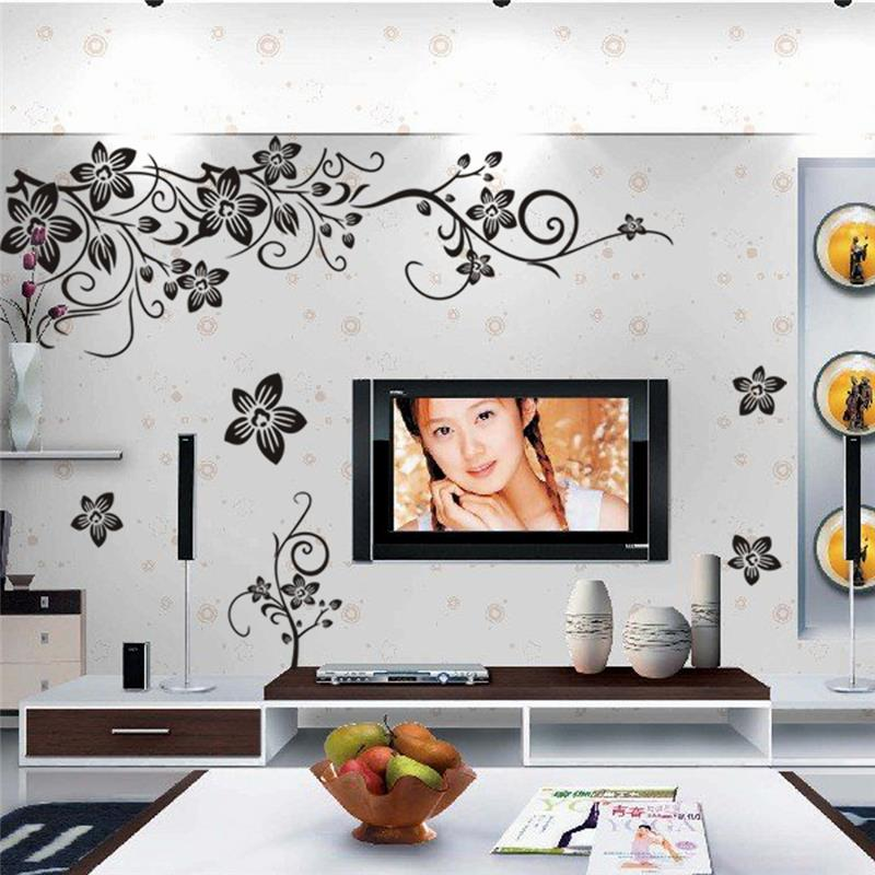 & PVC butterfly flowers wall stickers home decorations living kids room office diy floral decals tv background mural arts poster