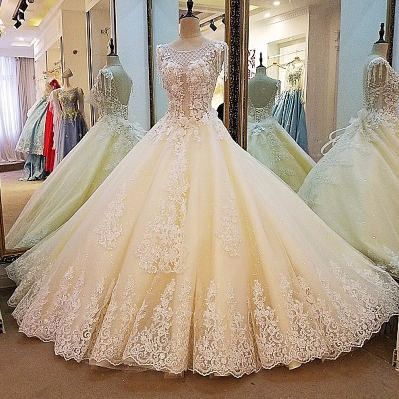 Champagne wedding dress ball gown coset back beading lace bridal gowns vestidos de noiva de luxo 2018 real photos