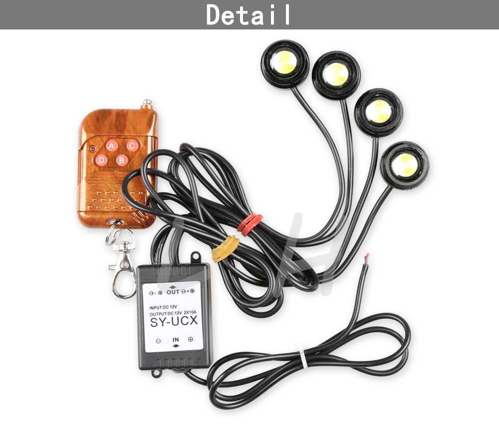 DRL 4*1.5W Car Strobe Flash Eagle Eye  Running Light with Remote Control Reverse Backup Stop Daytime DRL 12V 7w led white light eagle eye car foglight backup daytime running lamp dc 12v