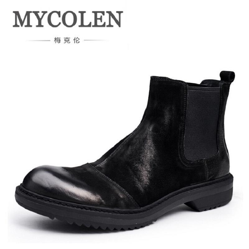 MYCOLEN NEW Vintage Style Chelsea Boots Top quality Leather Men Shoes Luxury Brand Business Men Boots Casual Bota masculina northmarch autumn winter retro men boots comfortable zipper brand casual shoes leather snow boots shoes dark red bota masculina