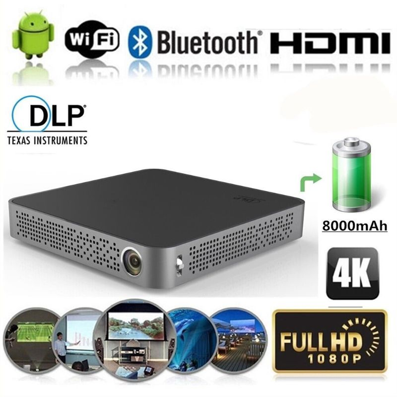 M10 4K HD 1080P TI DLP Technology Wifi Projector Mini HDMI Cinema for Home Theater for Iphone Android IOS Mobile phone PC Laptop