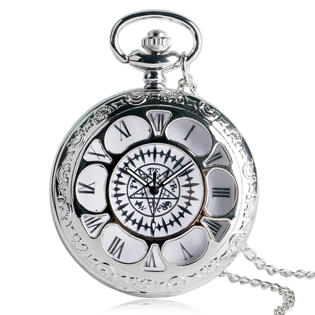 Silver Flower Cover Design Pocket Watch Men Women Necklace Gift Fashion Anime Pe
