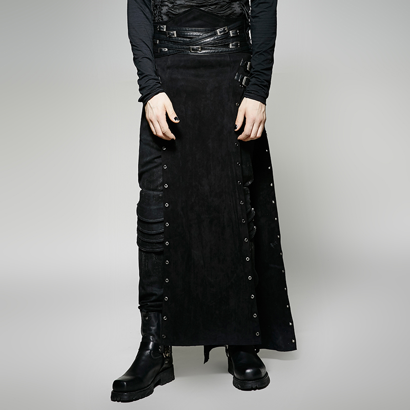 Steampunk Personality Black PU Leather Long Split Skirt for Men Punk Gothic Handsome Casual Pants Stage Performance Trousers